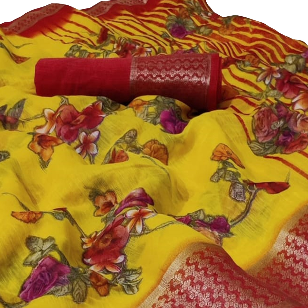 Pleasant Yellow Colored Casual Wear Floral Printed Linen Saree