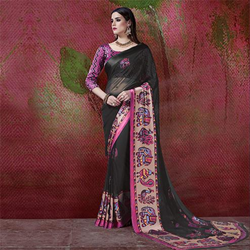 Charming Black Designer Printed Georgette Saree