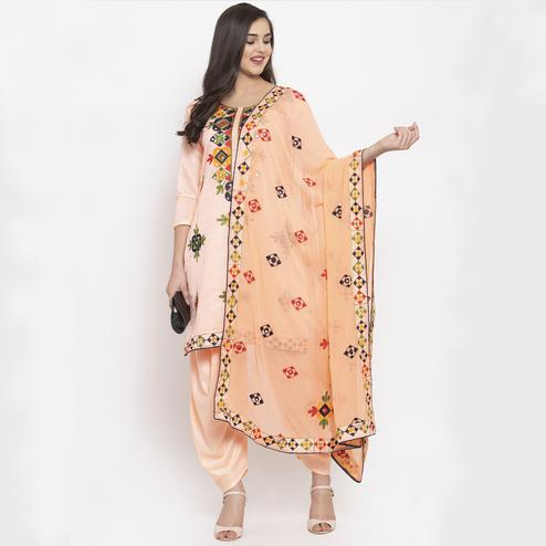 Refreshing Peach Colored Party Wear Embroidered Chanderi Silk Dress Material
