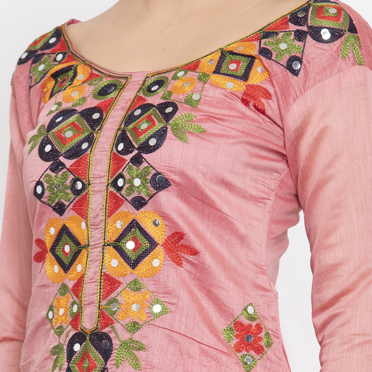 Magnetic Pink Colored Party Wear Embroidered Chanderi Silk Dress Material