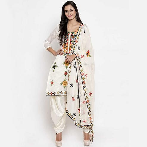 Hypnotic White Colored Party Wear Embroidered Chanderi Silk Dress Material