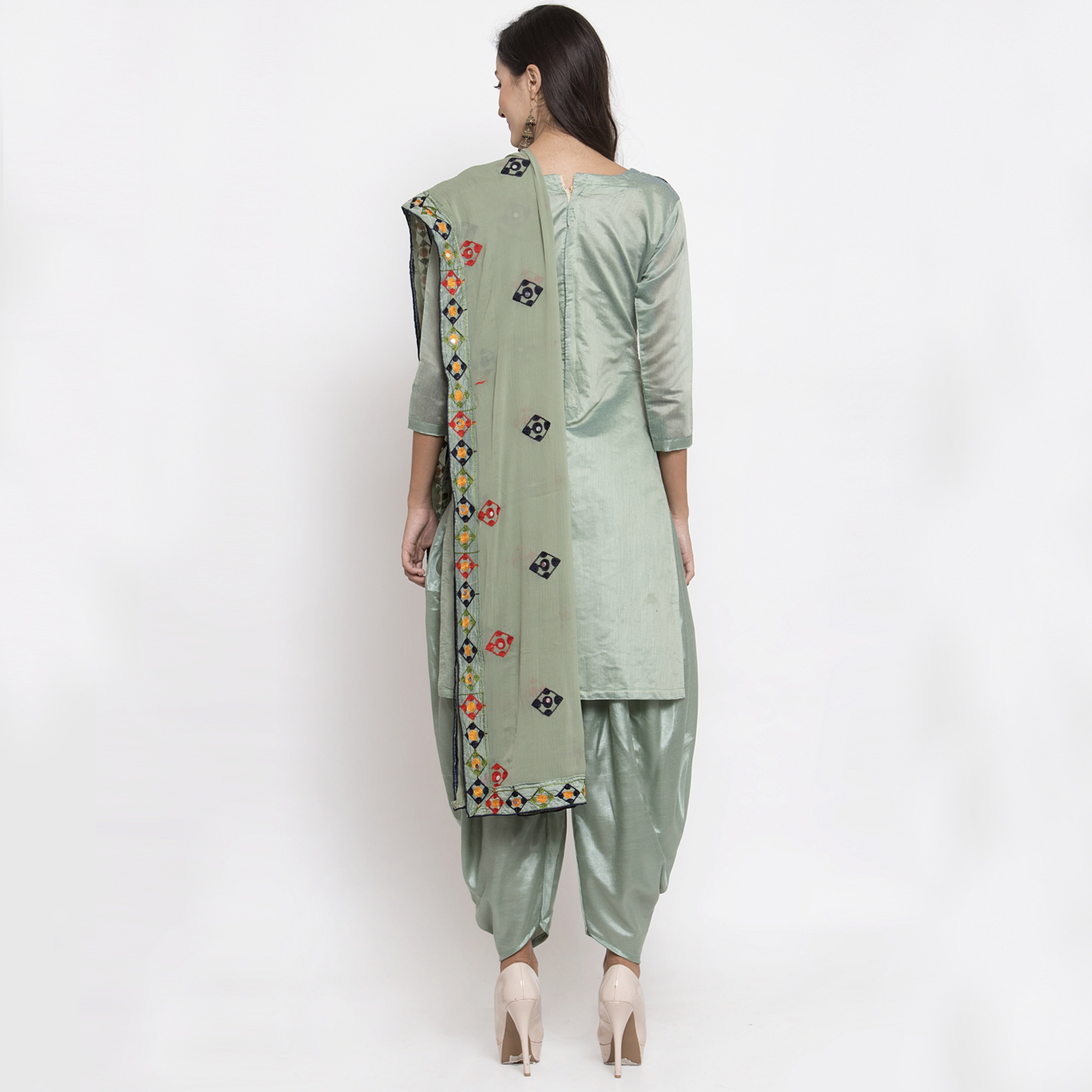 Flattering Pista Green Colored Party Wear Embroidered Chanderi Silk Dress Material