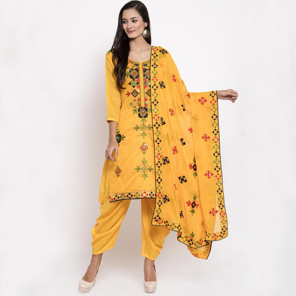 Excellent Yellow Colored Party Wear Embroidered Chanderi Silk Dress Material