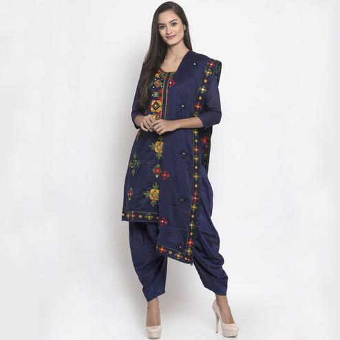 Preferable Navy Blue Colored Party Wear Embroidered Chanderi Silk Dress Material