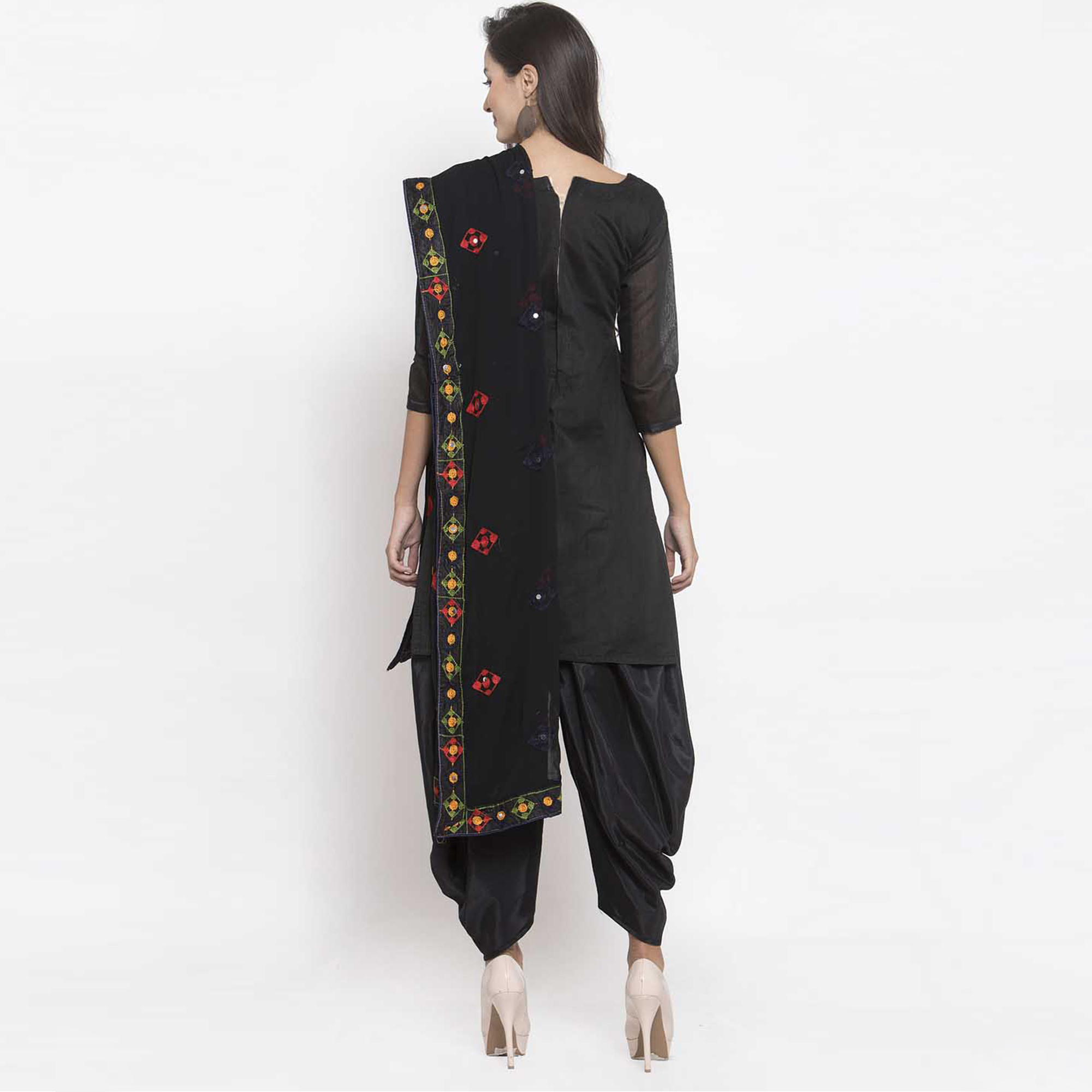 Marvellous Black Colored Party Wear Embroidered Chanderi Silk Dress Material