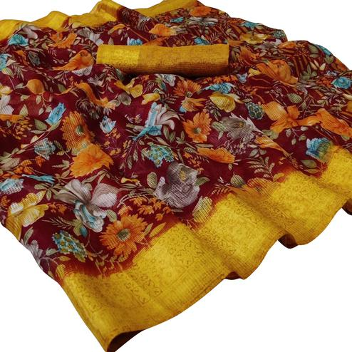 Energetic Maroon Colored Casual Wear Floral Printed Kota Silk Saree