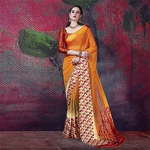 Appealing Golden Yellow Designer Printed Georgette Saree