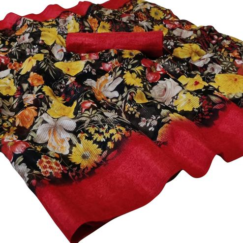 Mesmeric Black Colored Casual Wear Floral Printed Kota Silk Saree