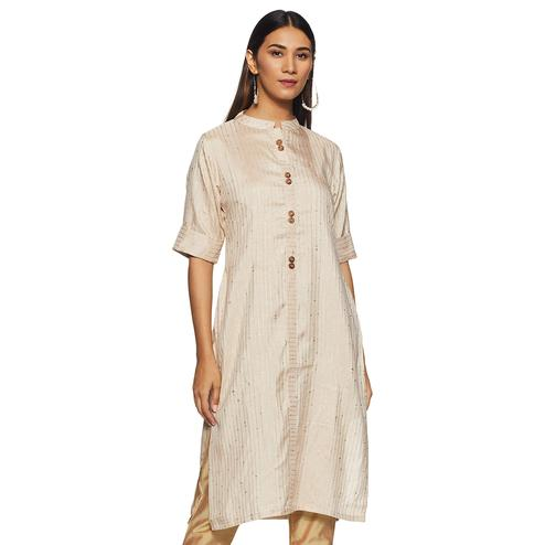 Attractive Cream Colored Casual Wear Printed Straight Silk Kurti