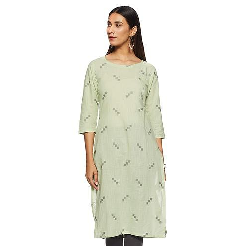 Graceful Pista Green Colored Casual Wear Woven Straight Cotton Kurti
