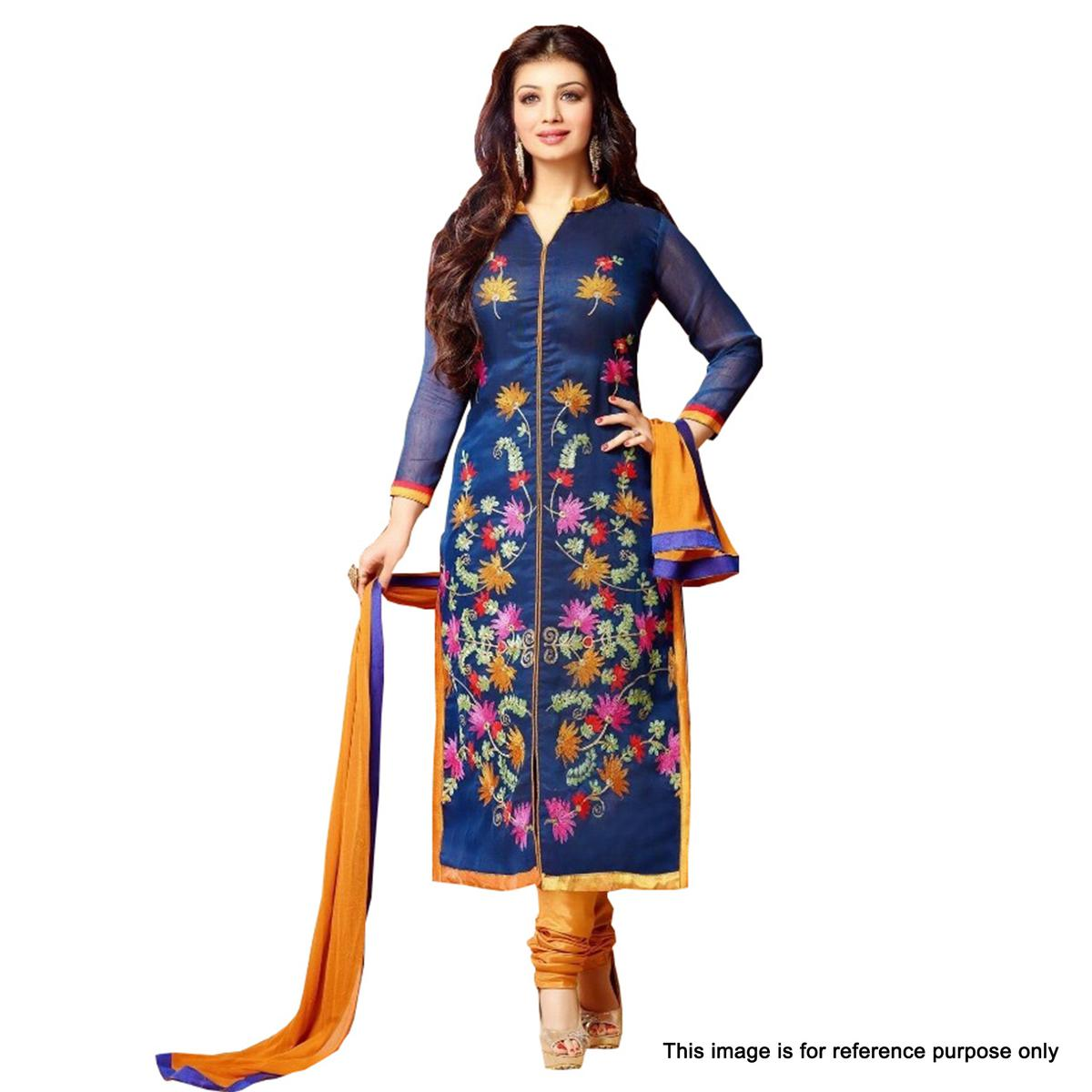 Navy Blue Floral Printed Salwar Suit