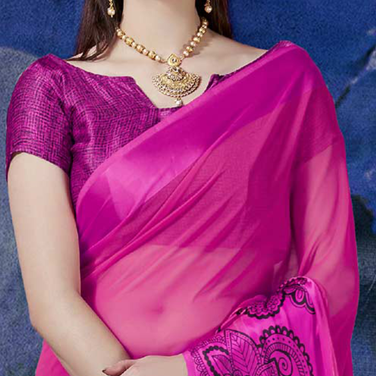 Gorgeous Pink Designer Printed Georgette Saree