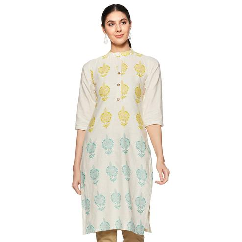 Captivating Off White Colored Casual Wear Printed Work Straight Cotton Kurti