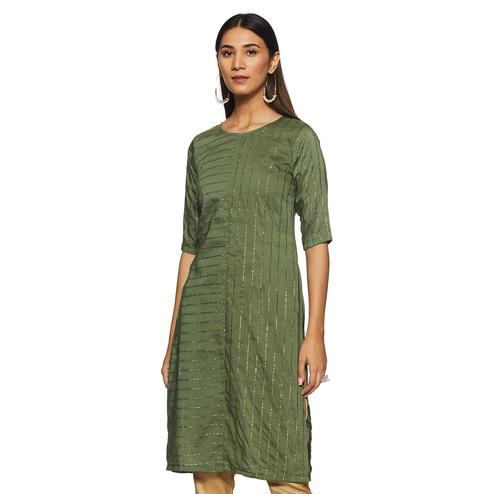 Amazing Green Colored Casual Wear Foil Print Straight Muslin Cotton Kurti