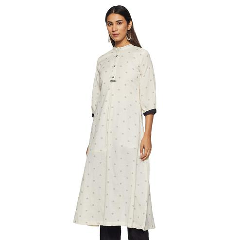 Blissful White Colored Casual Wear Woven Straight Cotton flex Kurti-Pant Set
