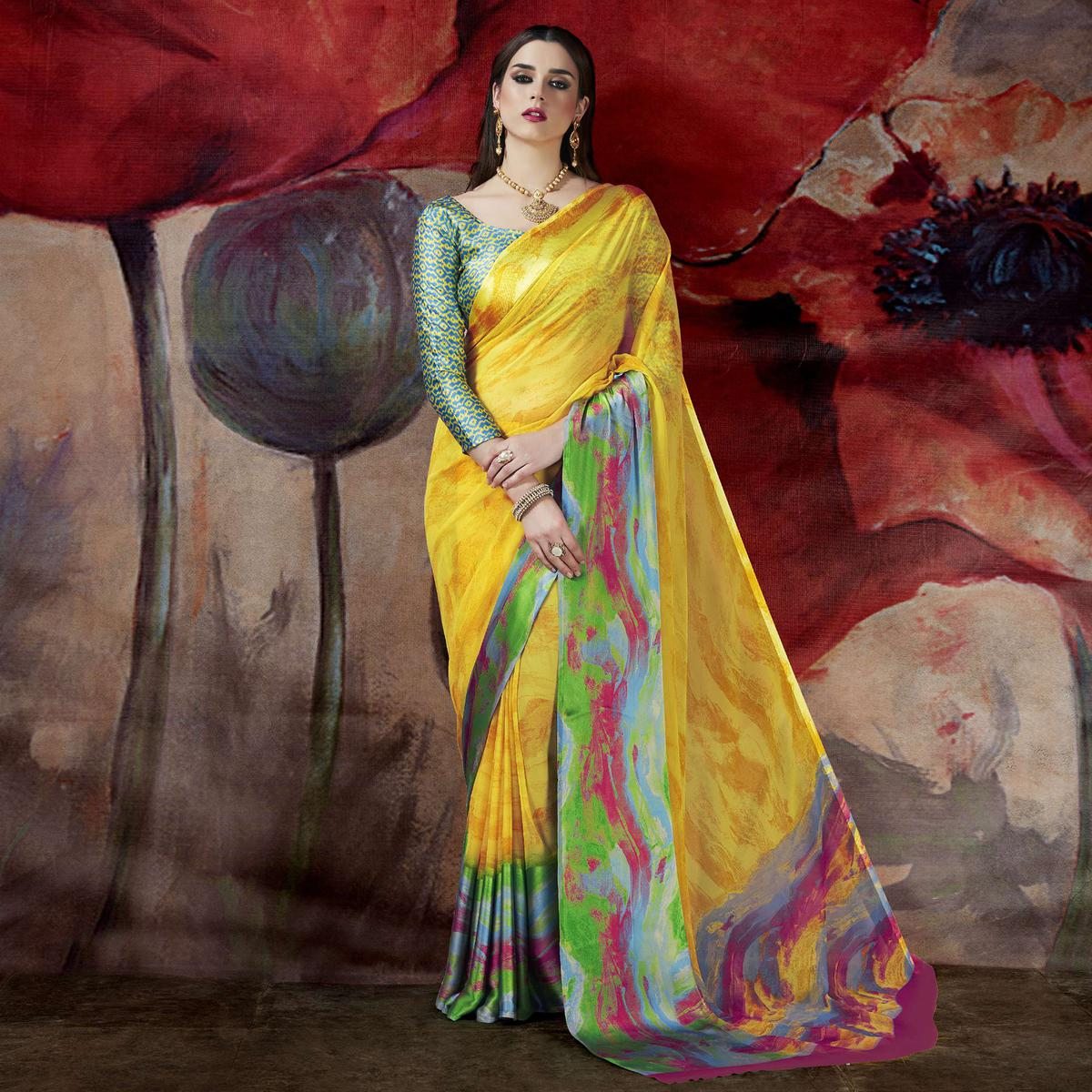 Ravishing Yellow Designer Printed Georgette Saree