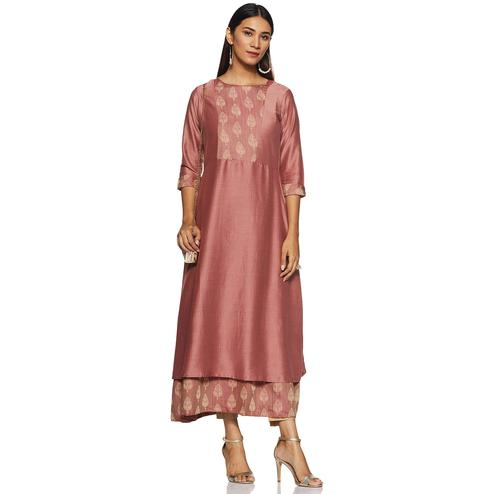Ideal Mauve Colored Casual Wear Woven A-Line Silk Kurti