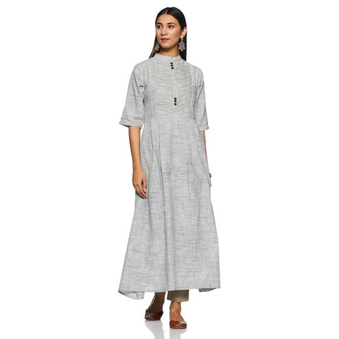 Imposing Grey Colored Casual Wear Pin Tucks A-Line Cotton Kurti
