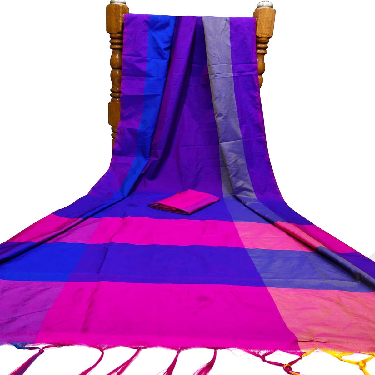 Demanding Violet Colored Festive Wear Woven Silk Saree With Tassels