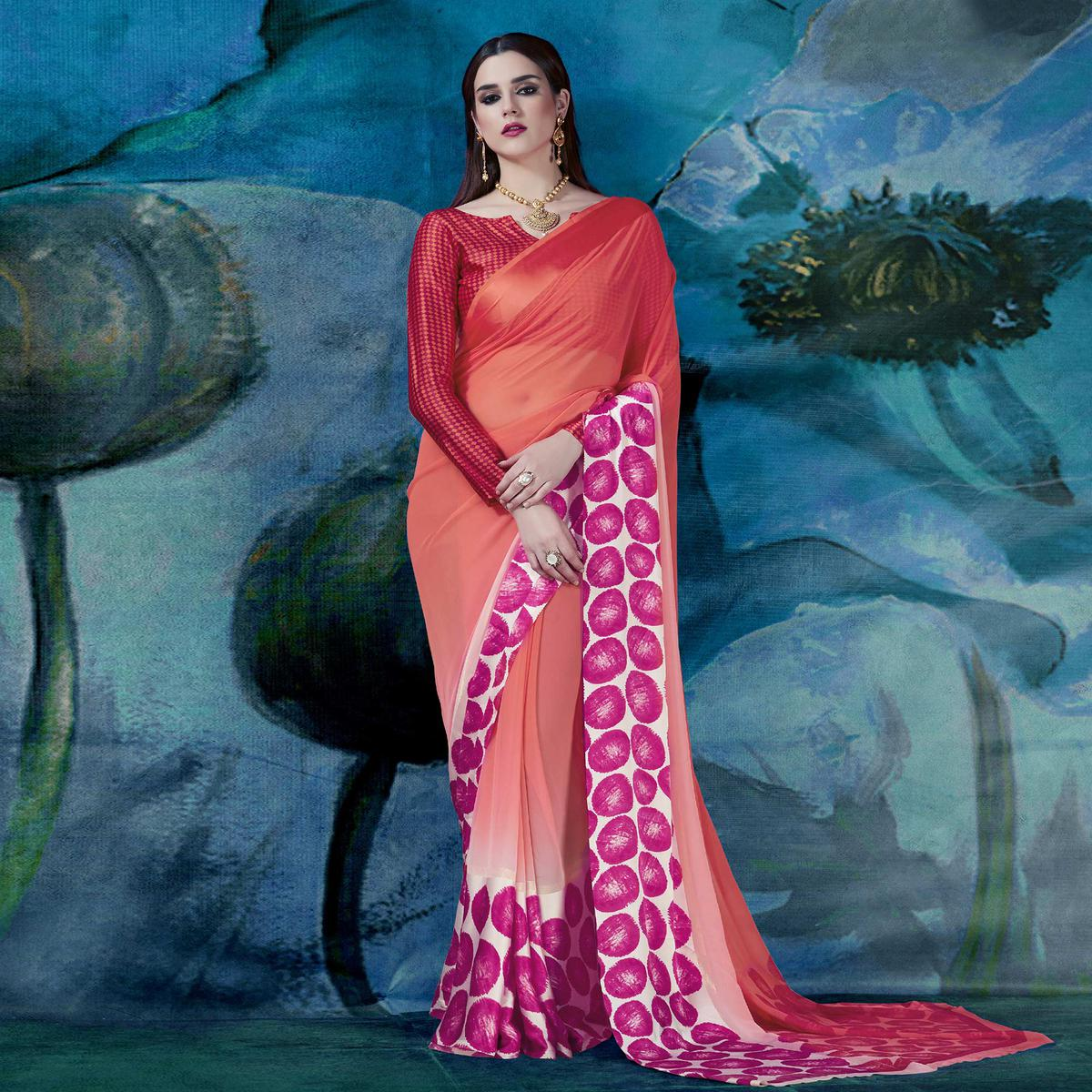 Graceful Shaded Peach Designer Printed Georgette Saree
