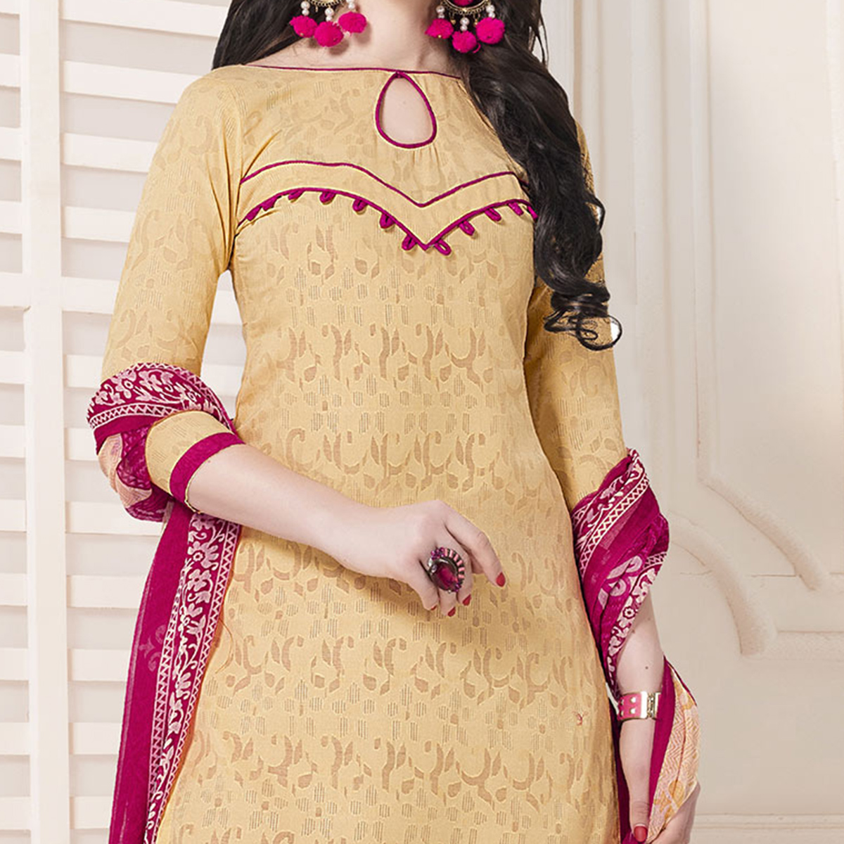 Beige-Pink Casual Printed Cotton Blend Salwar Suit
