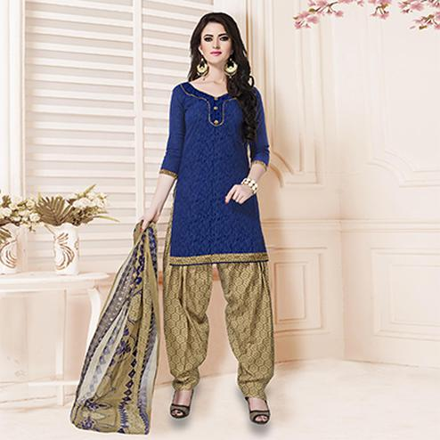 Royal Blue Casual Printed Cotton Blend Salwar Suit