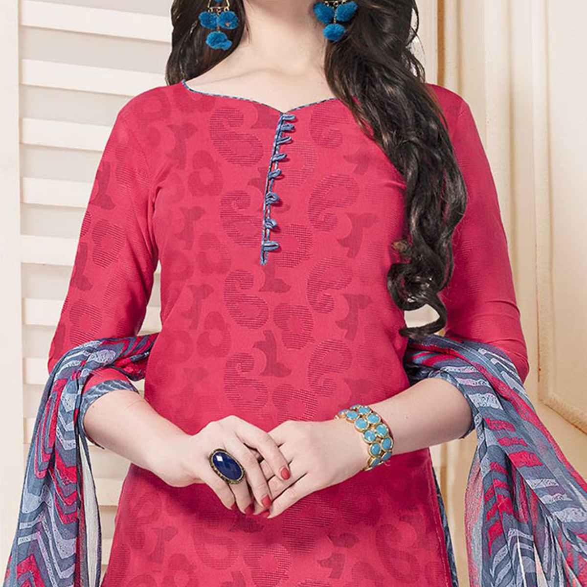 Red-Gray Casual Printed Cotton Blend Salwar Suit