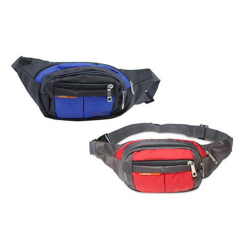 NFI Essentials - Pack of 2 Waist Pack Travel Handy Hiking Zip Pouch (Red & Blue)