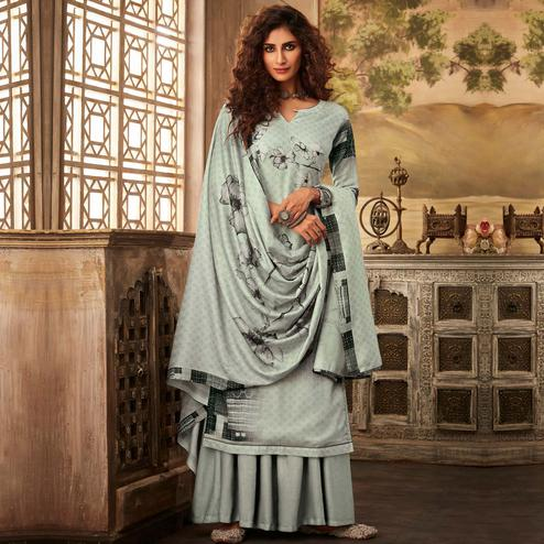 Stylee Lifestyle - Grey Colored Casual Digital Printed Pashmina Dress Material