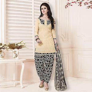 Cream-Black Casual Printed Cotton Blend Salwar Suit