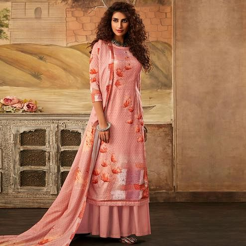 Stylee Lifestyle - Peach Colored Casual Digital Printed Pashmina Dress Material