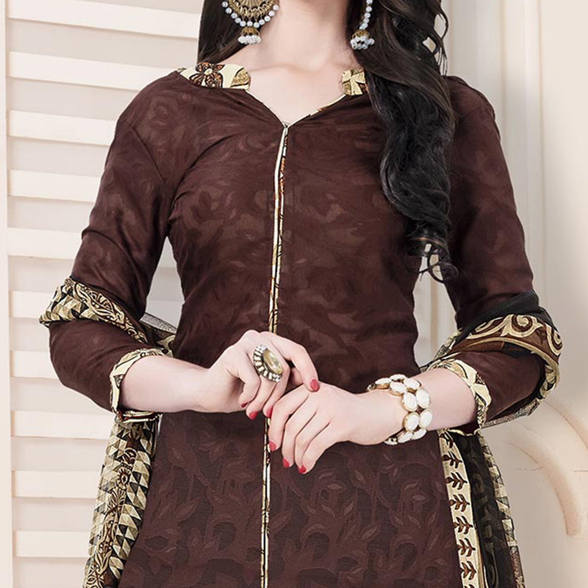 Brown-Cream Casual Printed Cotton Blend Salwar Suit