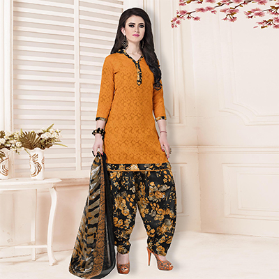Mustard Yellow-Black Casual Printed Cotton Blend Salwar Suit