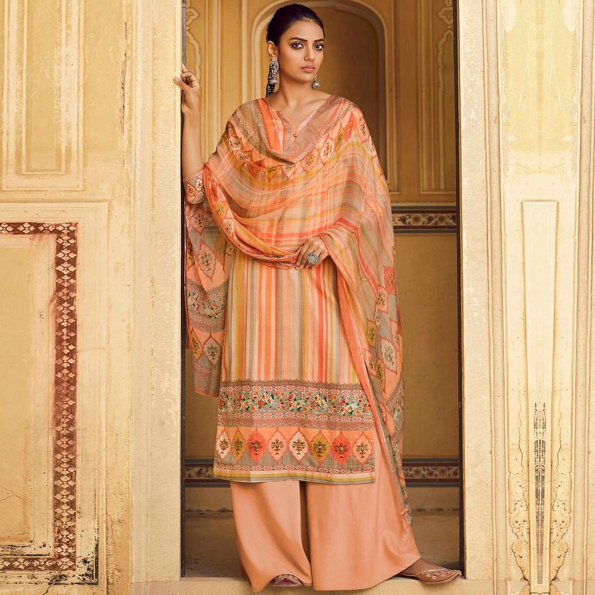 Stylee Lifestyle - Peach Colored Casual Digital Printed Cotton Dress Material