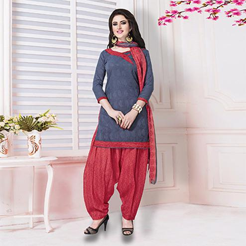 Dark Gray-Red Casual Printed Cotton Blend Salwar Suit