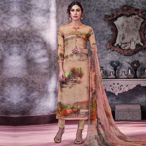 Stylee Lifestyle - Beige Colored Casual Digital Printed Pashmina Dress Material