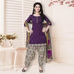 Purple Casual Printed Cotton Blend Salwar Suit