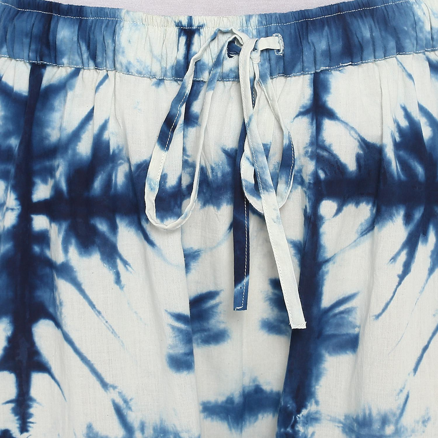 Darzaania - Blue Colored Casual Clamp Dyed Handblock Cotton Palazzo