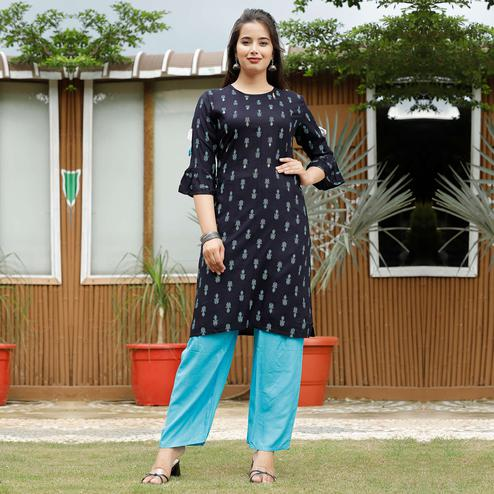 Pooja Fashion - Dark Blue Colored Casual Printed Rayon Kurti Palazzo Set