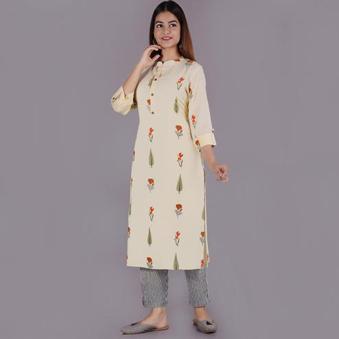 Pooja Fashion - Cream Colored Casual Printed Rayon Kurti Palazzo Set