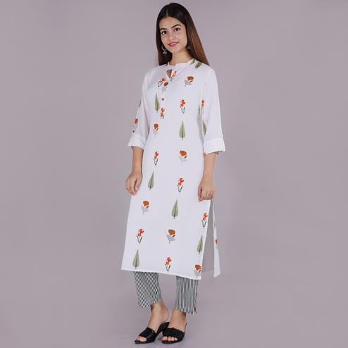 Pooja Fashion - White Colored Casual Printed Rayon Kurti Palazzo Set