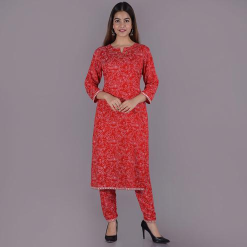 Pooja Fashion - Red Colored Casual Printed Rayon Kurti Palazzo Set