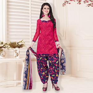 Red Casual Printed Cotton Blend Salwar Suit
