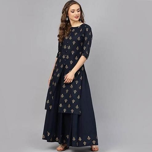 Pooja Fashion - Navy Blue Colored Partywear Heavy Work Rayon Kurti Skirt Set