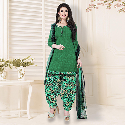 Green Casual Printed Cotton Blend Salwar Suit