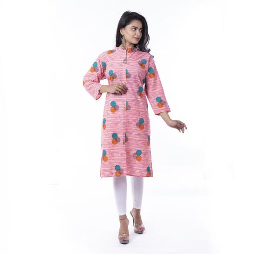 Pooja Fashion - Pink Colored Casual Printed Cotton Kurti