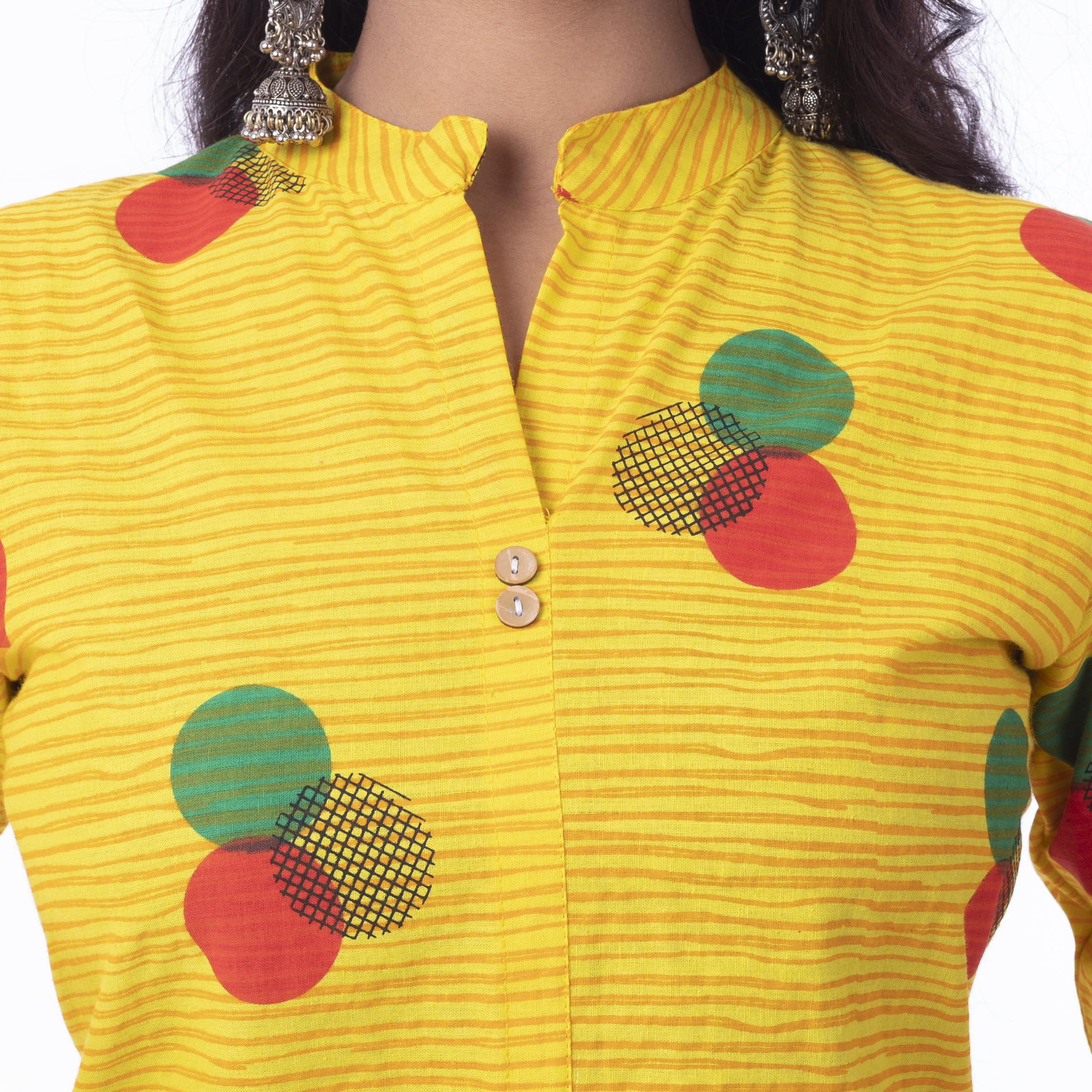 Pooja Fashion - Yellow Colored Casual Printed Cotton Kurti