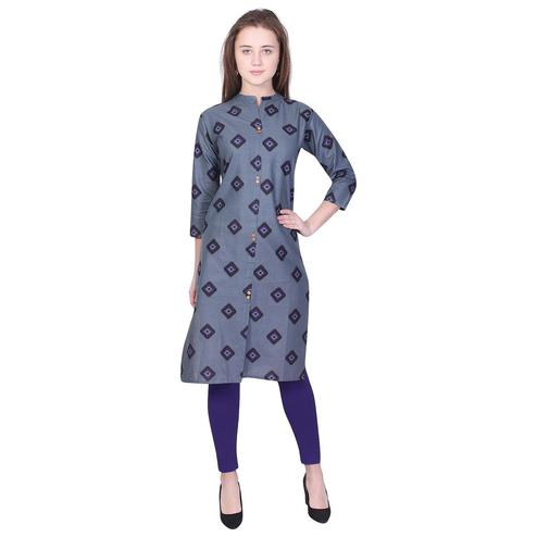 Pooja Fashion - Grey Colored Casual Printed Cotton Kurti