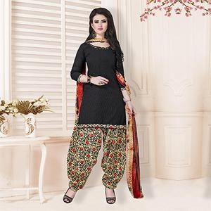 Black Casual Printed Cotton Blend Salwar Suit