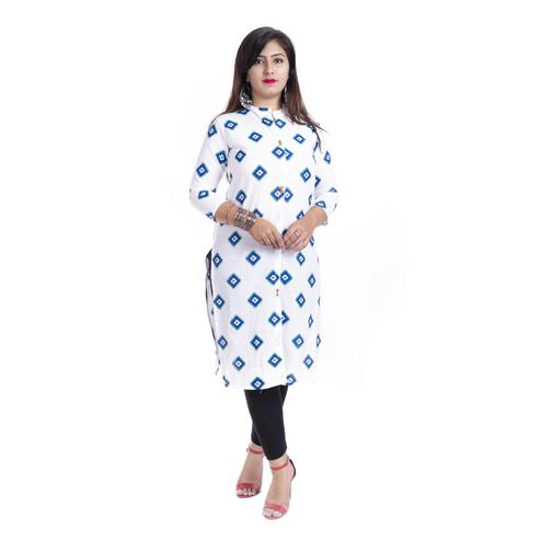 Pooja Fashion - White Colored Casual Printed Cotton Kurti